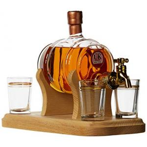 Barrel and 4 Glasses with Tap - 350ml (Stylish Whisky) 40%