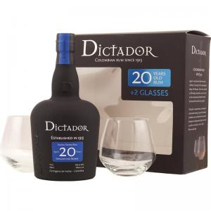 JANUARY SALE - Dictador 20 Year Old Gift Pack - 70cl Bottle with Glasses