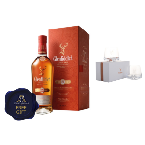 Glenfiddich 21yo Reserva Rum Cask Finish & 2 Complimentary Glasses - 40% 70cl